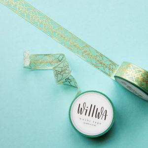 Golden Reflection Green Washi Tape - Design by Willwa