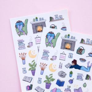 Girls Love to Read Sticker Sheet - Design by Willwa