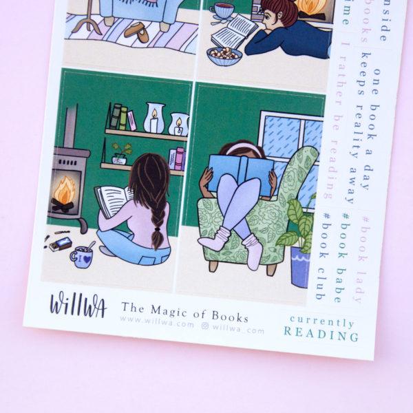 The Magic of Books Sticker Sheet - Design by Willwa