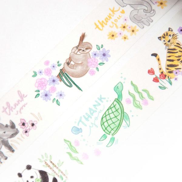 Thank You Animals Washi Tape - Design by Willwa