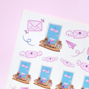 I Love Happy Mail Sticker Sheet - Design by Willwa