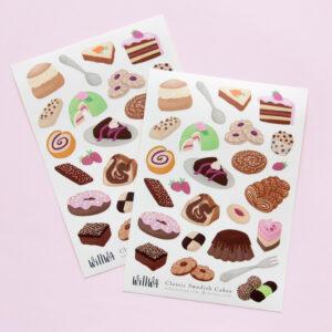 Classic Swedish Cakes Sticker Sheet - Design by Willwa