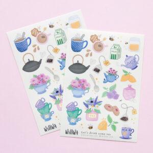 Let's Drink Some Tea Sticker Sheet - Design by Willwa