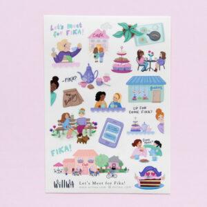 Let's Meet For Fika Sticker Sheet - Design by Willwa