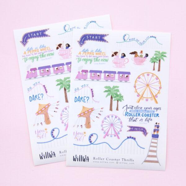 Roller Coaster Thrills Sticker Sheet - Design by Willwa