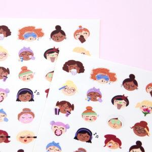 Cute Self Care Faces Sticker Sheet - Design by Willwa