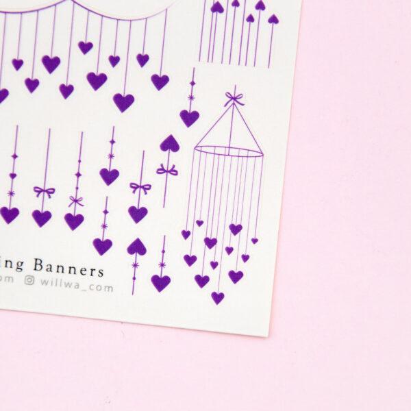 Heart String Banners Sticker Sheet - Design by Willwa