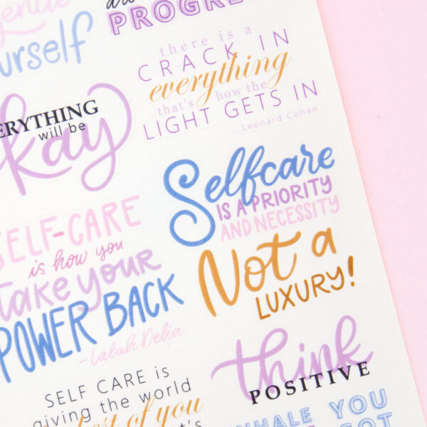 Self Care - Self Love Sticker Sheet - Design by Willwa