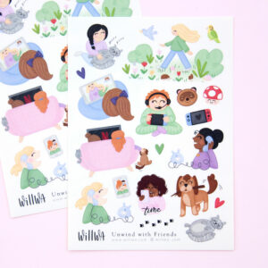 Unwind with Friends Sticker Sheet - Design by Willwa
